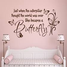 Wall Decal She Became Butterfly Inspirational Girl Lettering