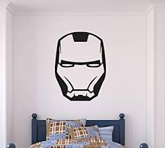 Amazon Com Superhero Mask Wall Decal Iron Man Vinyl Sticker Playroom Decoration Boy S Room Wall Decor Cg1319 26 Width X 36 Height Baby