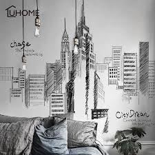 Black Retro Large Tall City Buildings Set Wall Stickers Pvc Diy Mural Art For Living Room Sofa Decoration Background Decal 3size Belenydogen