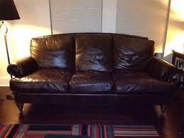 ethan allen hyde leather sofa excellent