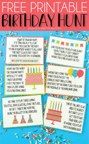 free printable birthday scavenger hunt