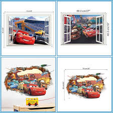 Hot Deal 35af Disney Cars Lightning Mcqueen 13 Style 3d Effect Wall Stickers For Kids Boy Room Wall Decal Mural Art Diy Posters Home Decor Cicig Co