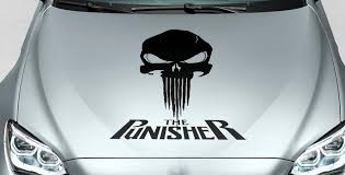 Product Punisher Skull Words Blood Hood Side Vinyl Decal Sticker For Car Track Suv