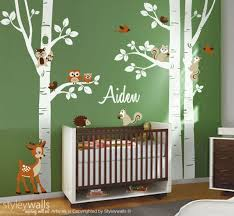 Forest Animals Birch Trees Wall Decal For Nursery Woodland Etsy