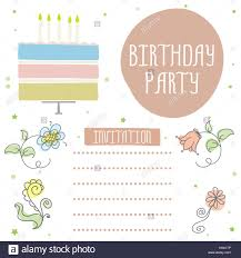 Feliz Cumpleanos Una Bonita Tarjeta De Invitacion Con Pastel