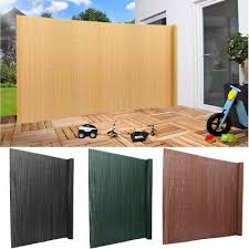 3m 5m Garden Fence Wall Privacy Screening Hedge Slatted Pvc Screen Bamboo Sheets Ebay