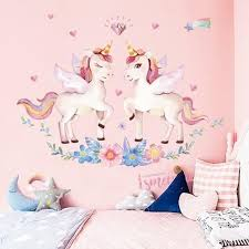 Cute Cartoon Unicorn Wall Stickers For Kids Room Girls Bedroom Home Decor Diy Animal Wallpaper Wal In 2020 Unicorn Wall Decal Girls Wall Stickers Rainbow Wall Stickers