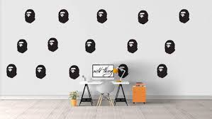 Bape Pattern Wall Decal Bape Art Bathing Ape Home Decor Wall Sticker Wall Decal Sticker Wall Art Bape Art Vinyl Decor