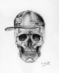 the cool skull surrealistic drawing