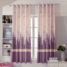 Purple Blush Star Castle Short Window Curtains For Kids Nursery Room