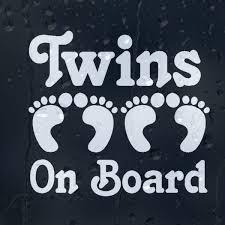 Twins On Board Funny Print Foots Car Decal Vinyl Sticker Wish