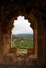 Wallmonkeys Green Hills Seen Through Window Of Ruined Ancient Castle Peel And Stick Wall Decals Wm92072 36 In H X 25 In W Fi Wall Decals Castle Wall Wall