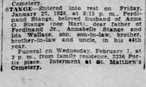 Ferdinand Stange-Obit 27 Jan 1928 B.1 Feb 1928-St. Matthews Cem W-Anna G  Stange (nee Hart) - Newspapers.com