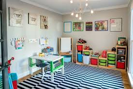 Raleigh Playroom Lighting Kids Transitional With Gallery Wall Themed Decals Craft Table