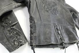 leather jacket xl black distressed