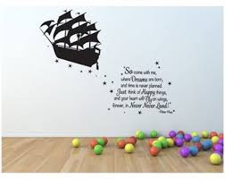 Pirate Ship Peter Pan Wall Decal Neverland Sticker Mural Vinyl Etsy