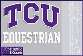 Amazon Com Tcu Horned Frogs Equestrian W Tcu Logo Vinyl Decal Texas Christian Car Truck Sticker Sports Outdoors