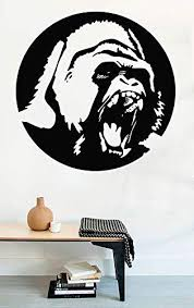 Amazon Com Greate Decal Animals Wall Decals Gorilla Head Monkey King Kong Vinyl Decor Sticker Mural Mk2024 Home Kitchen