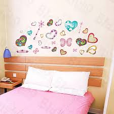 Colorful Hearts Large Wall Decals Stickers Appliques Home Decor