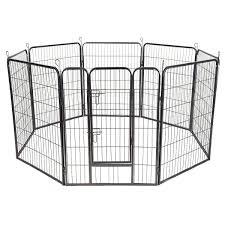 31 Pet Fence Dog Playpen Exercise Cage Kennel W Door 8 Panel Outdoor Indoor