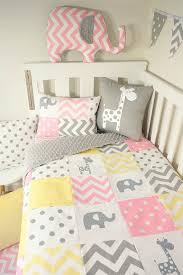 patchwork quilt nursery set pink yellow
