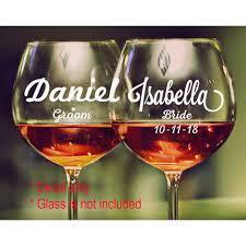 wine glass wedding decal