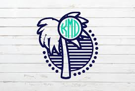 Palm Tree Monogram Decal Beach Decal Tropical Decal Summer Decal Nautical Decal Palm Tree Car Decal Palm T Summer Decal Monogram Decal Car Monogram Decal