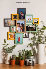 frames on wall with fl decoration