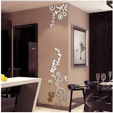 Amazon Com Wall Sticker Home Decor 3d Creative Circle Ring Acrylic Mirror Wall Stickers Decals Mural Art Room Decoration Silver As Shown Home Kitchen