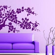 Dctop Purple Flower Tree Wall Sticker For Living Room Removable Diy Vinyl Self Adhesive Wall Decals Home Decoration Accessories Wall Stickers Aliexpress