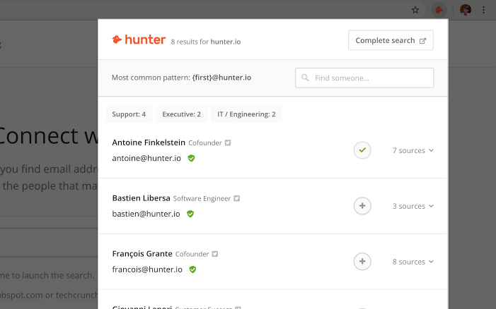 hunter.io for email extraction