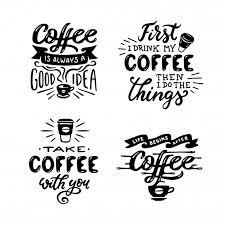 hand drawn coffee quotes set premium vector