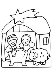 Kerst Kleurplaten Kerststal Met Jesus Josef Maria En Een