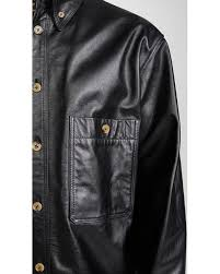 lemaire black leather shirt jacket for
