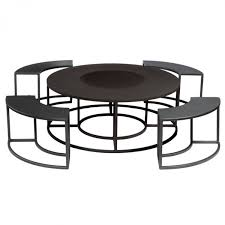 round fire pit table with benches