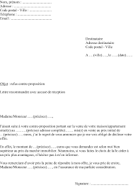 lettre refuser contre proposition