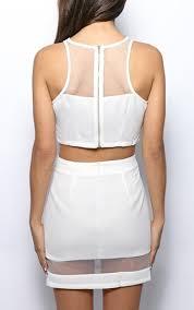 Iva White Mesh Panel Crop Top | Knitwear | PrettyLittleThing