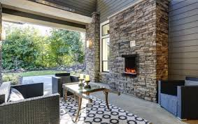 an electric outdoor fireplace
