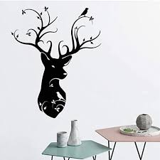 Amazon Com Wall Stickers Murals Naturalist Style Deer Head Wall Decal Mural Bedroom Decor Nordic Animal Vinyl Sticker For Kids Room Living Room Decoration 42x52cm Kitchen Dining