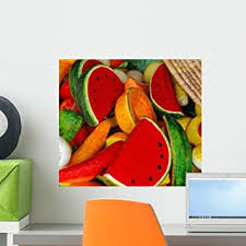 Amazon Com Wallmonkeys Paper Mache Fruit And Vegetable Wall Decal Peel And Stick Graphic Wm65434 18 In W X 16 In H Home Kitchen
