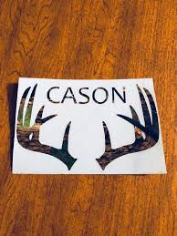 Yeti Cooler Hunter Personalized Camo Vinyl Decal Camouflage Antler Decal Small Decals Yeti Cooler Vinyl Decals Yeti Coolers