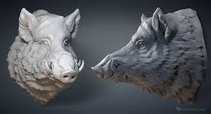 wild boar head digital sculpture