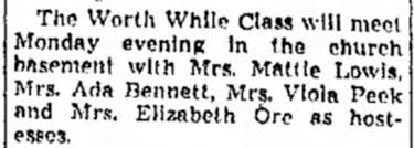 Ada Bennett, notice of Worth While Class meeting. - Newspapers.com