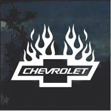 Chevrolet With Flames 4 Window Decal Sticker Custom Sticker Shop In 2020 Window Decals Custom Stickers Decals Stickers