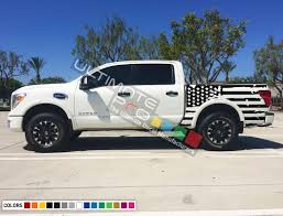 Set Of Side Bed American Flag Decal Sticker Graphic Destorder Us Flag Compatible With Nissan Titan 2003 2017 Ultimateprocy