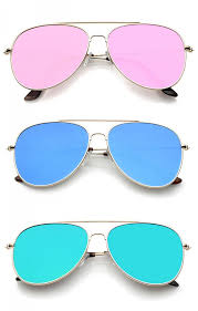 flat colored mirror lens aviator