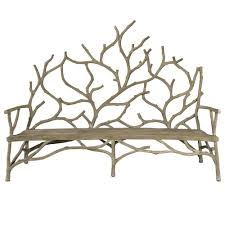 large faux bois branches bench earthy