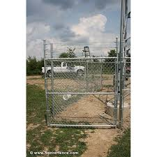 Hoover Fence Industrial Chain Link Fence Single Gates All 2 Galvanized Hf40 Frame With Barbed Wire Hoover Fence Co