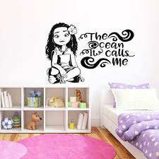 The Ocean Calls Me Wave Wall Decal Moana Inspired Girl Room Art Mural Hawaii Movie Vinyl Sticker Hawaiian Room Decoration 3334 Wall Stickers Aliexpress