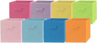 Amazon Com Pomatree Fabric Storage Bins 8 Pack Fun Colored Durable Storage Cubes 2 Reinforced Handles Foldable Cube Baskets For Home Kids Room Nursery And Playroom Closet And Toys Organization